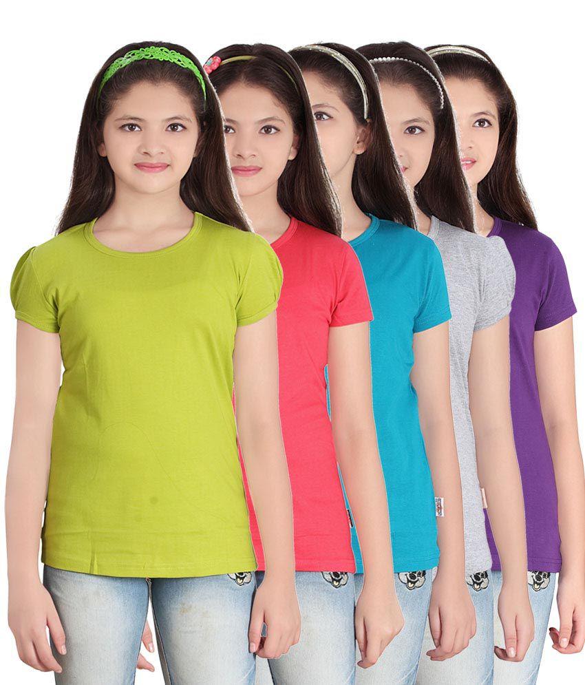 Sini Mini Multi color Half Tshirts Set Of 5