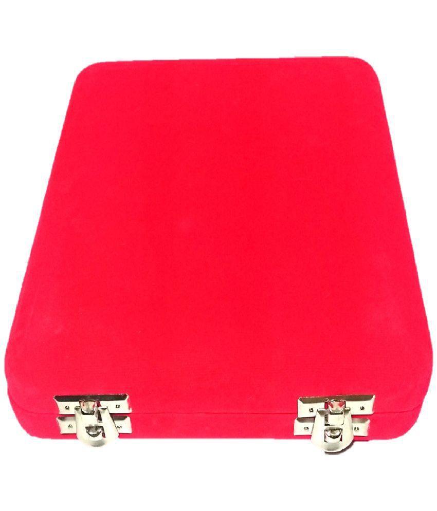 Addyz Red Velvet Coated Jewelry Necklace Half Set Earring Case Box