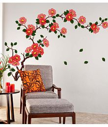 Quick View. Stickerskart Multicolor Floral Branch Sofa Living Room  Background Antique Flowers Vinyl Art Wall ...