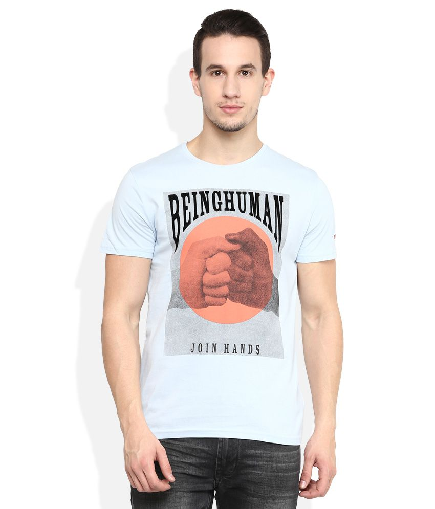 Being Human Blue Round Neck T Shirt