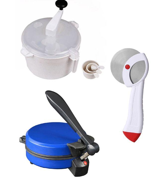 GTC Combo Of Detachable Blue Roti Maker, Dough Maker And Pizza Cutter