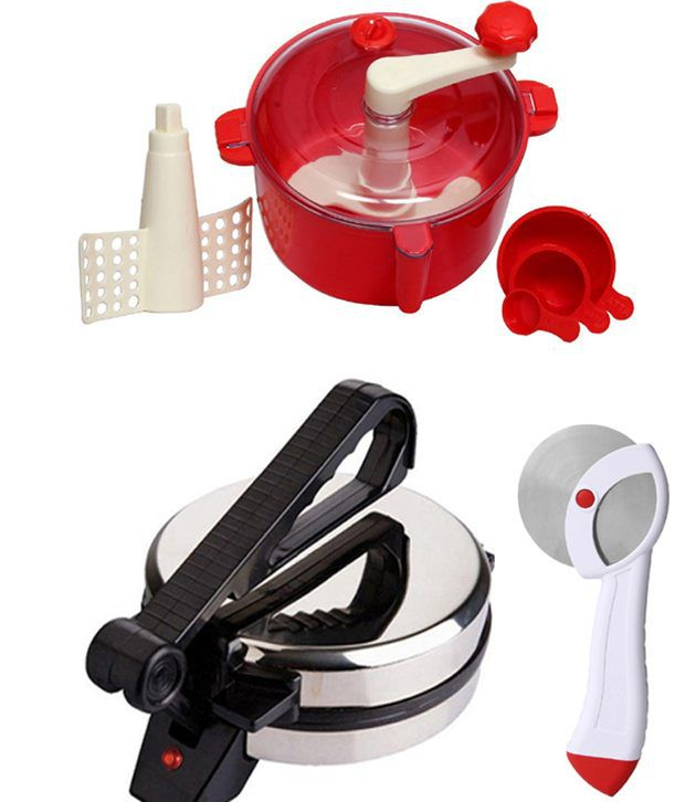 GTC Combo Of Eagle Roti Maker, Red Dough Maker And Pizza Cutter