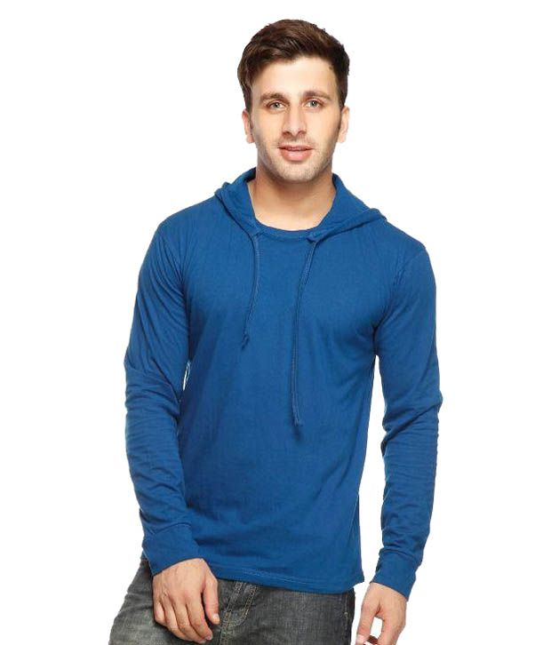 Gritstones Blue Hooded T Shirts