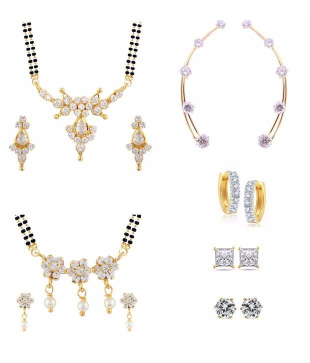 Parijaat Exclusive Golden Mangalsutra Set Of 2 With Ear Cuffs, Balis & Stud Earrings