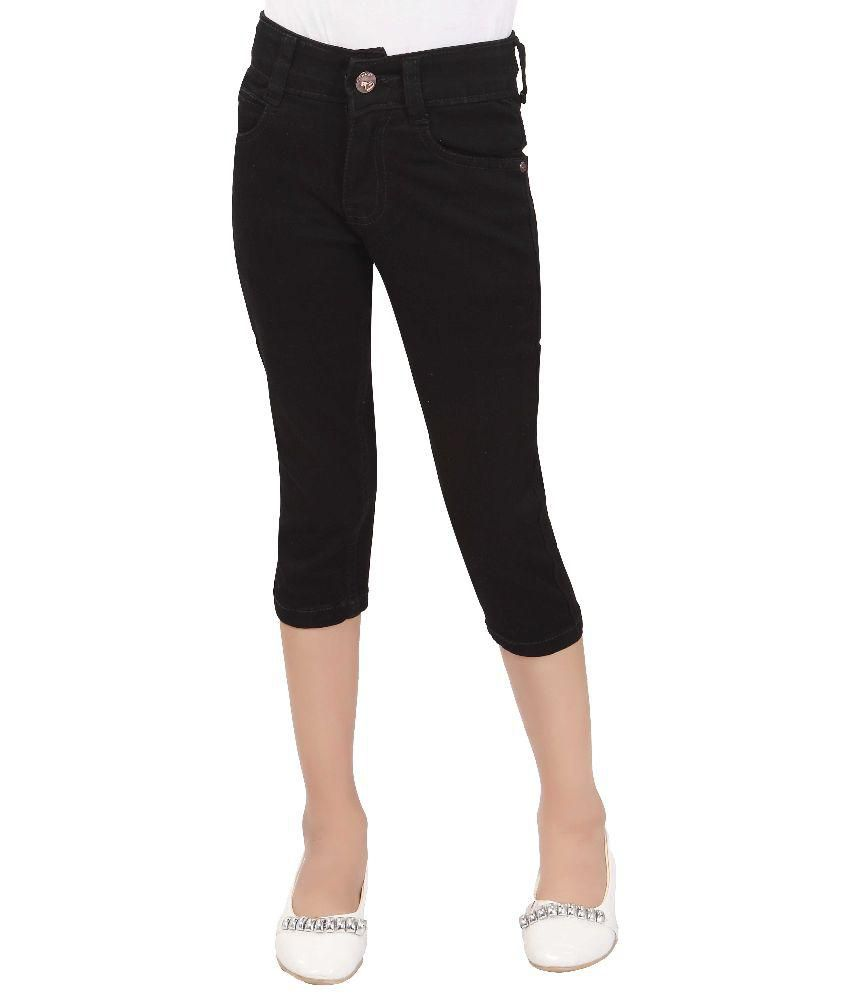 T Three Black Cotton Capris