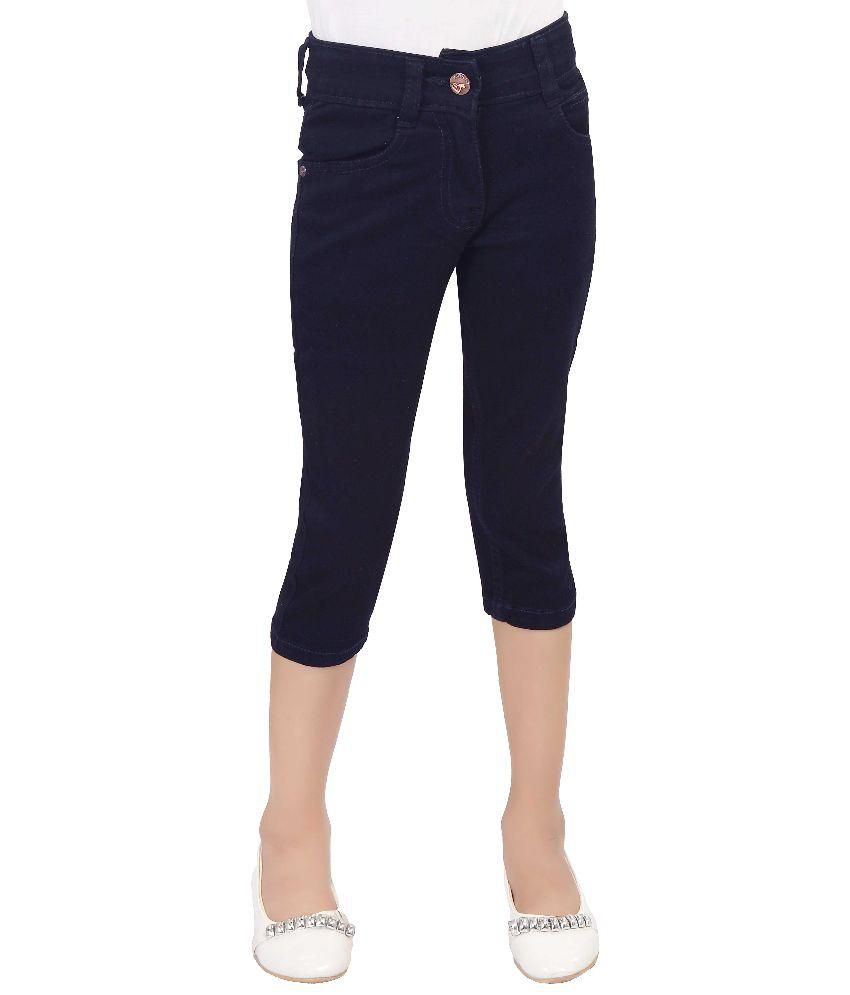 T Three Blue Cotton Capris