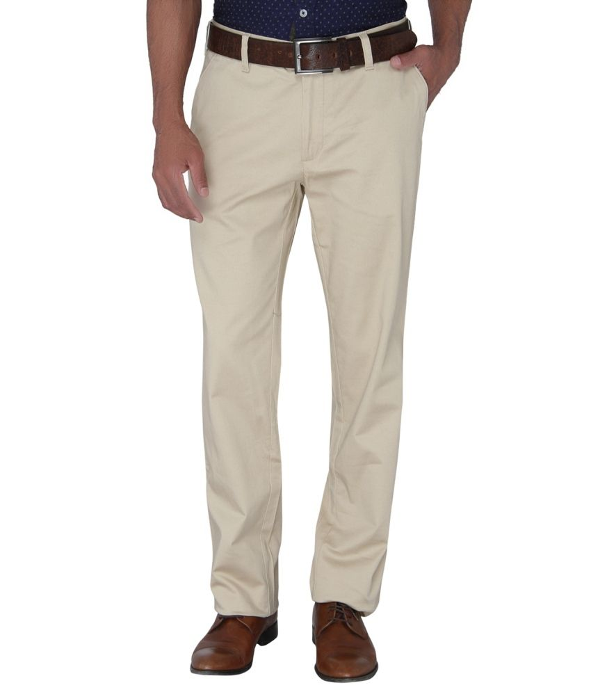 Greenfibre Beige Regular Fit Flat Trousers