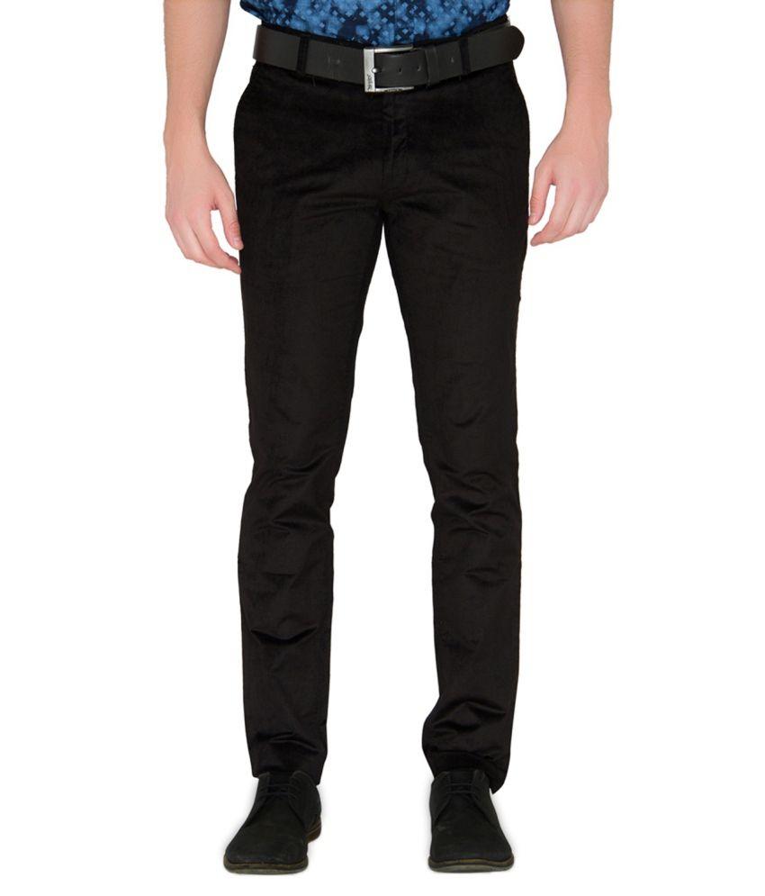 Jadeblue Black Regular Fit Flat Trousers