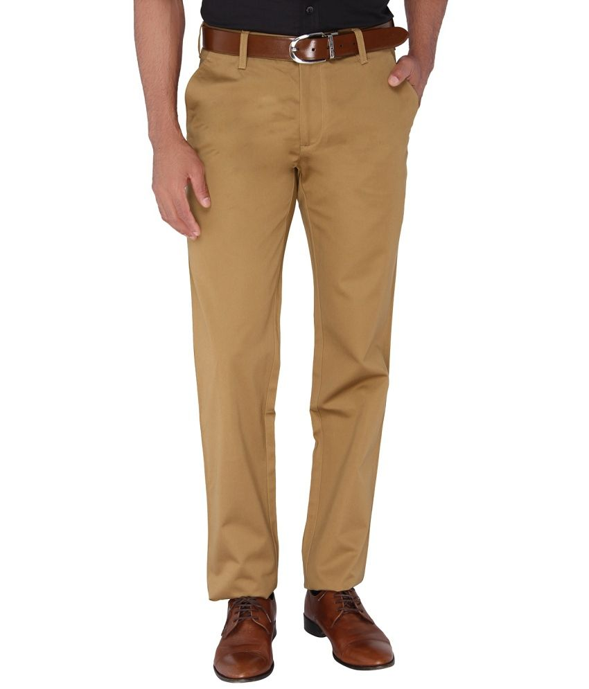 Jadeblue Khaki Regular Fit Flat Trousers