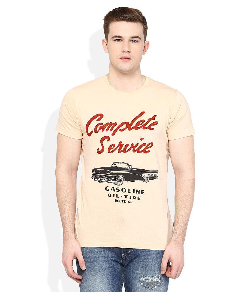 Route 66 Beige Round Neck T Shirt