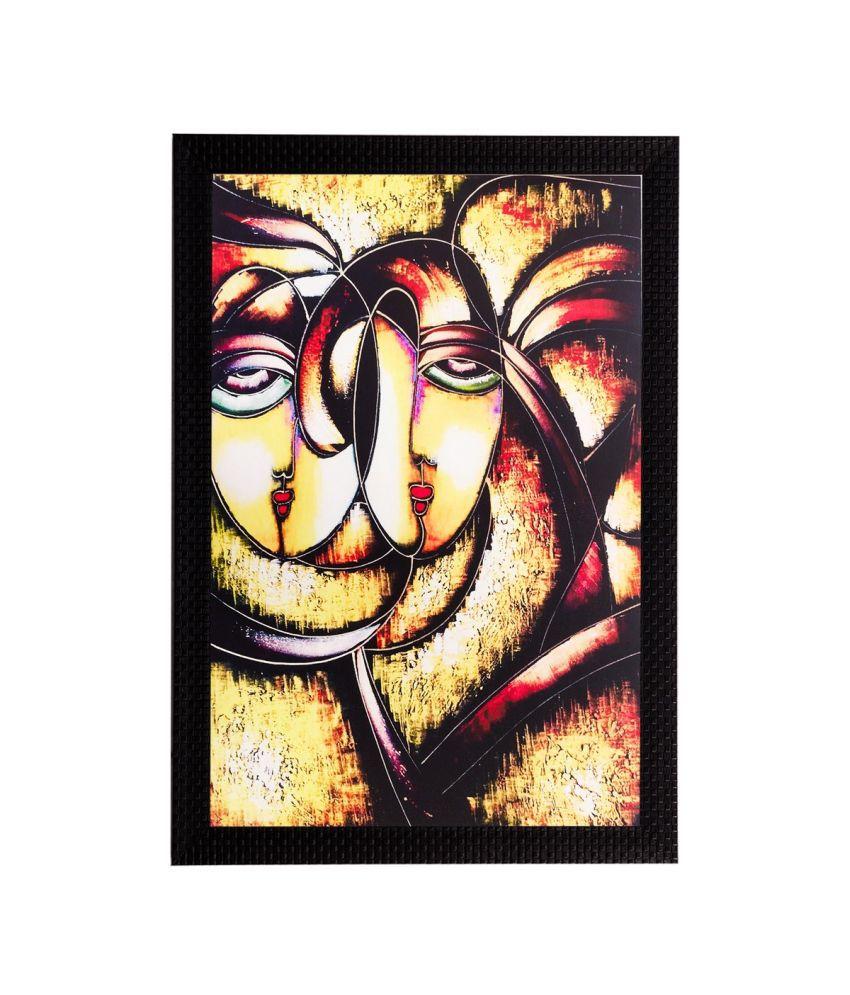 eCraftIndia Abstract Faces Matt Textured Framed UV Art Print