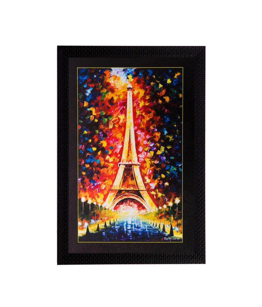 eCraftIndia Beautiful Eiffel Tower Matt Textured Framed UV Art Print