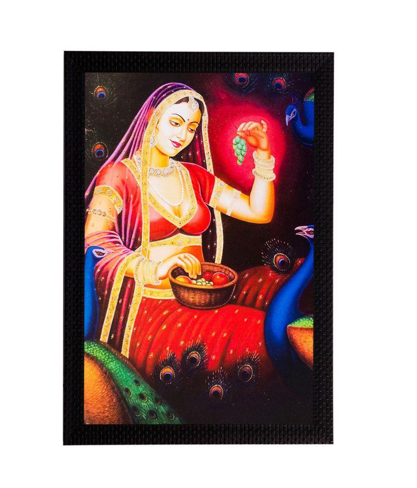 eCraftIndia Beautiful Lady Matt Textured Framed UV Art Print
