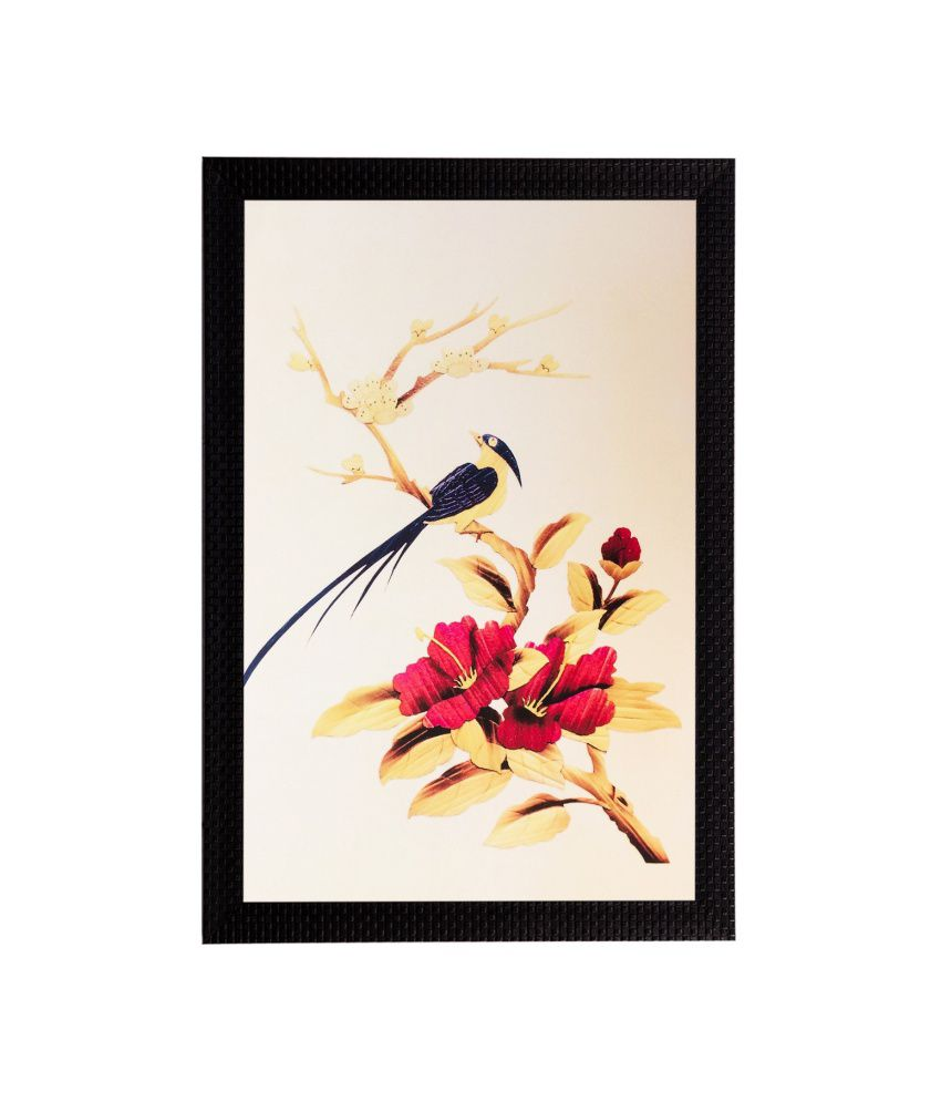 eCraftIndia Bird & Flower Matt Textured Framed UV Art Print