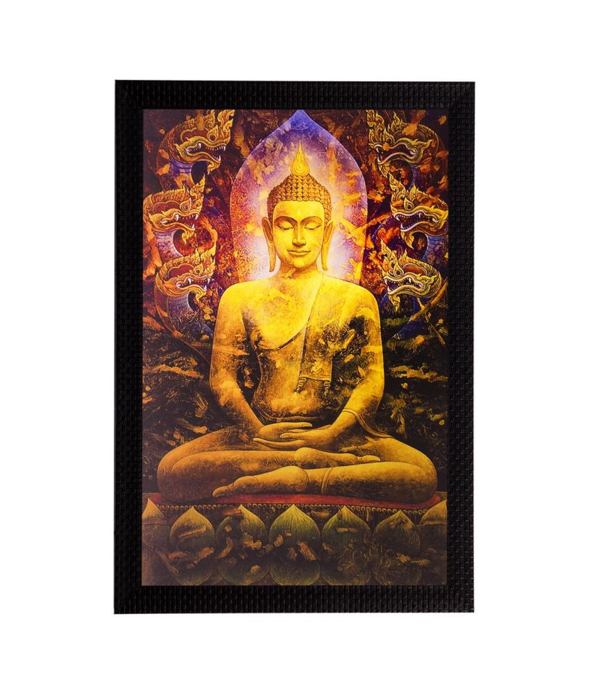 eCraftIndia Lord Buddha Matt Textured Framed UV Art Print