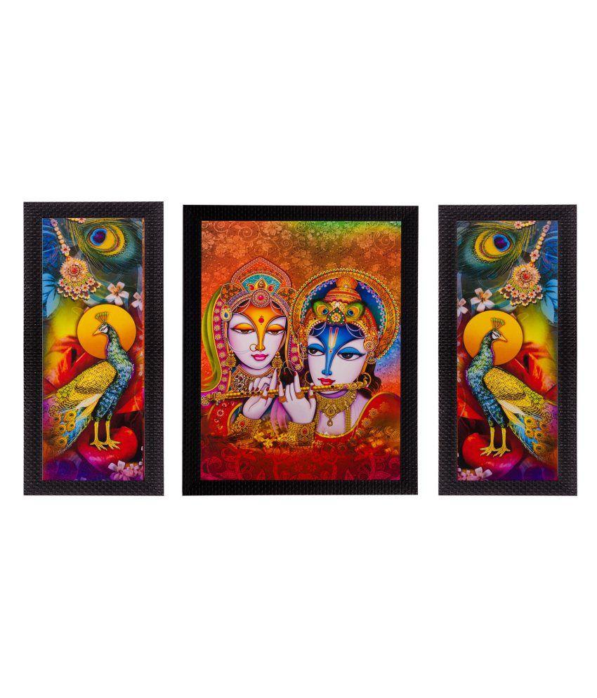 eCraftIndia Set of 3 Radha Krishna & Peacock Matt Textured Framed UV Art Print