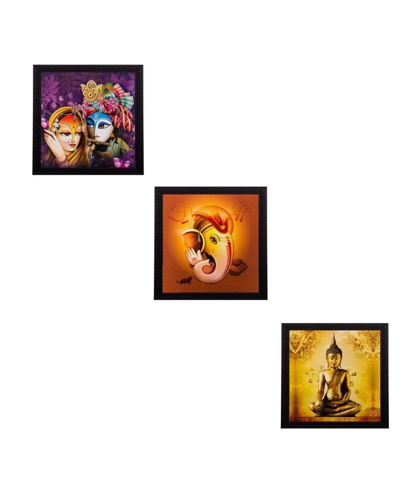 eCraftIndia Set of 3 Spiritual Matt Textured Framed UV Art Print