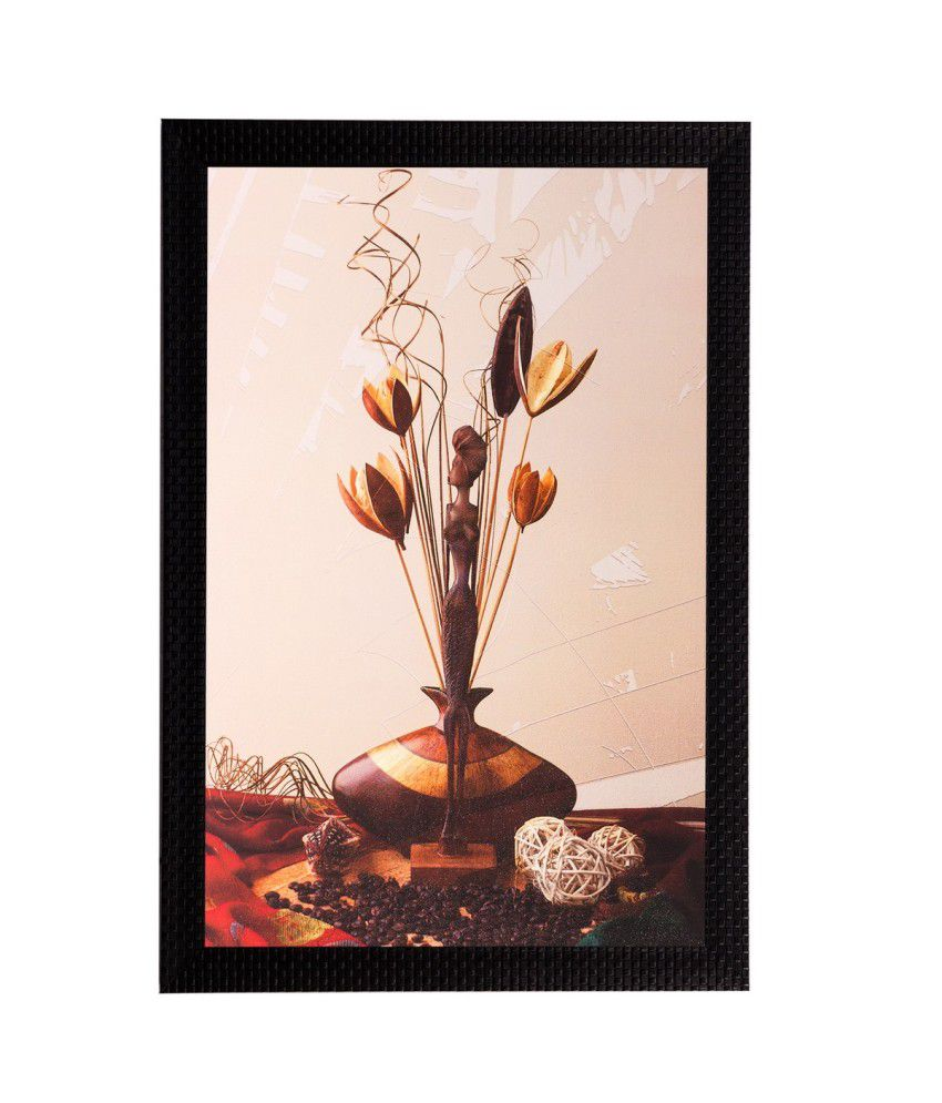 eCraftIndia Stems & Vase Matt Textured Framed UV Art Print