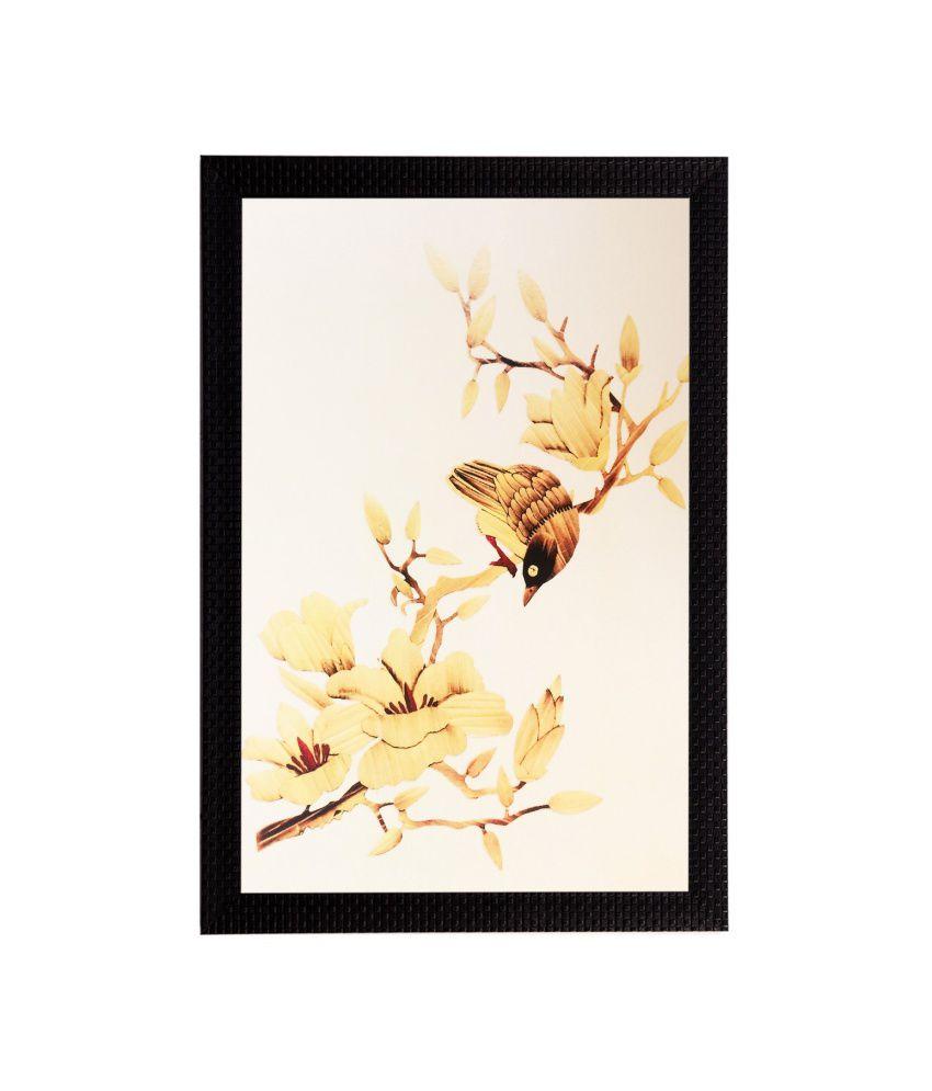 eCraftIndia Yellow Dry Leaves Matt Textured Framed UV Art Print
