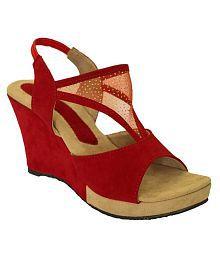 Hansx Red Wedges Heels