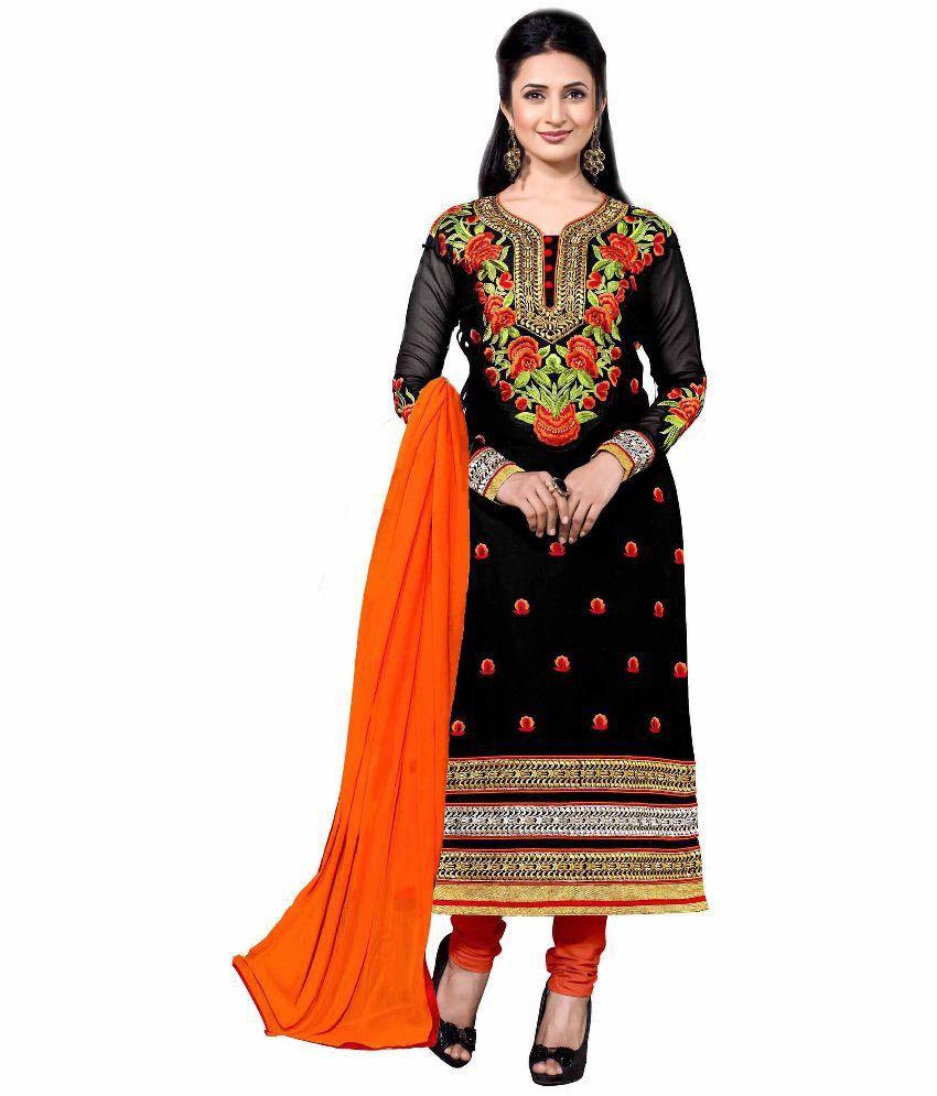 Blissta Black Cotton Straight Unstitched Dress Material