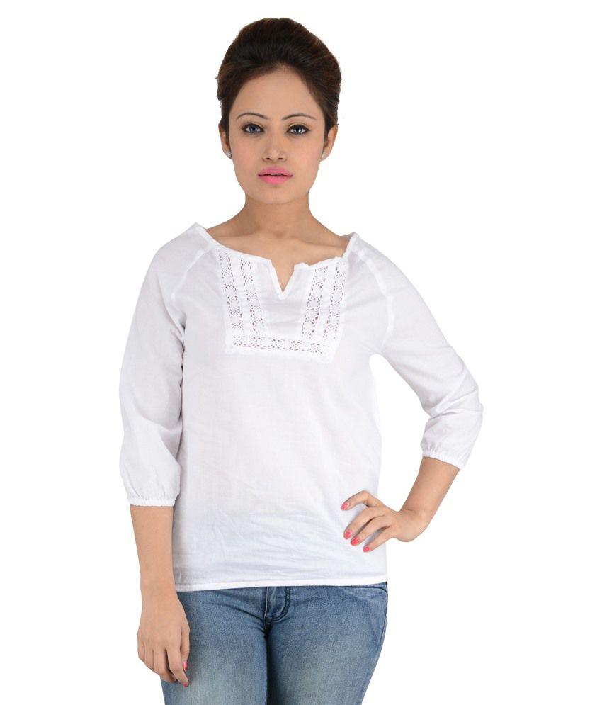 b364e38b5b8122 Eimoie White Cotton Tops - Buy Eimoie White Cotton Tops Online at Best  Prices in India on Snapdeal