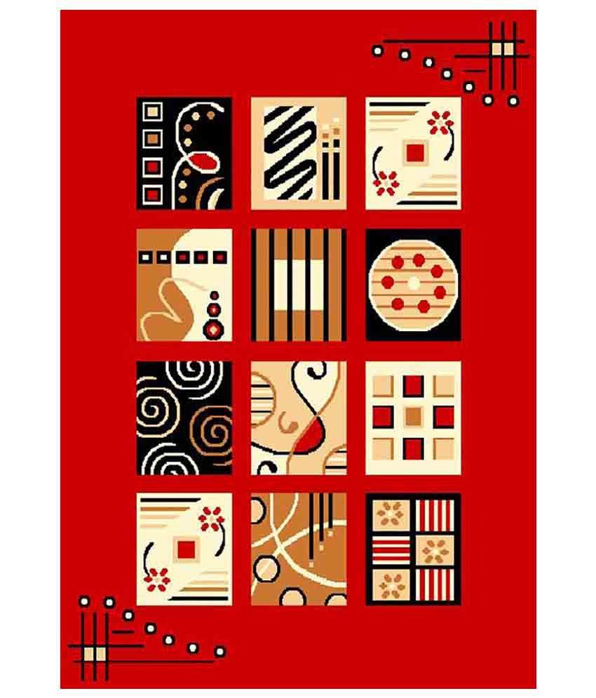 Furnishingland Multicolour Geometrical Polyester Carpet 4x6 Ft.