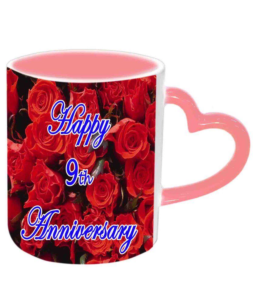 Jiya Creation Happy 9th Anniversary Pink Heart Handle Ceramic Mug
