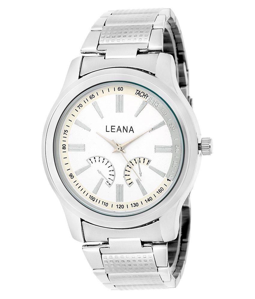 Leana Silver Leather Wrist Watch For Men - Buy Leana ...