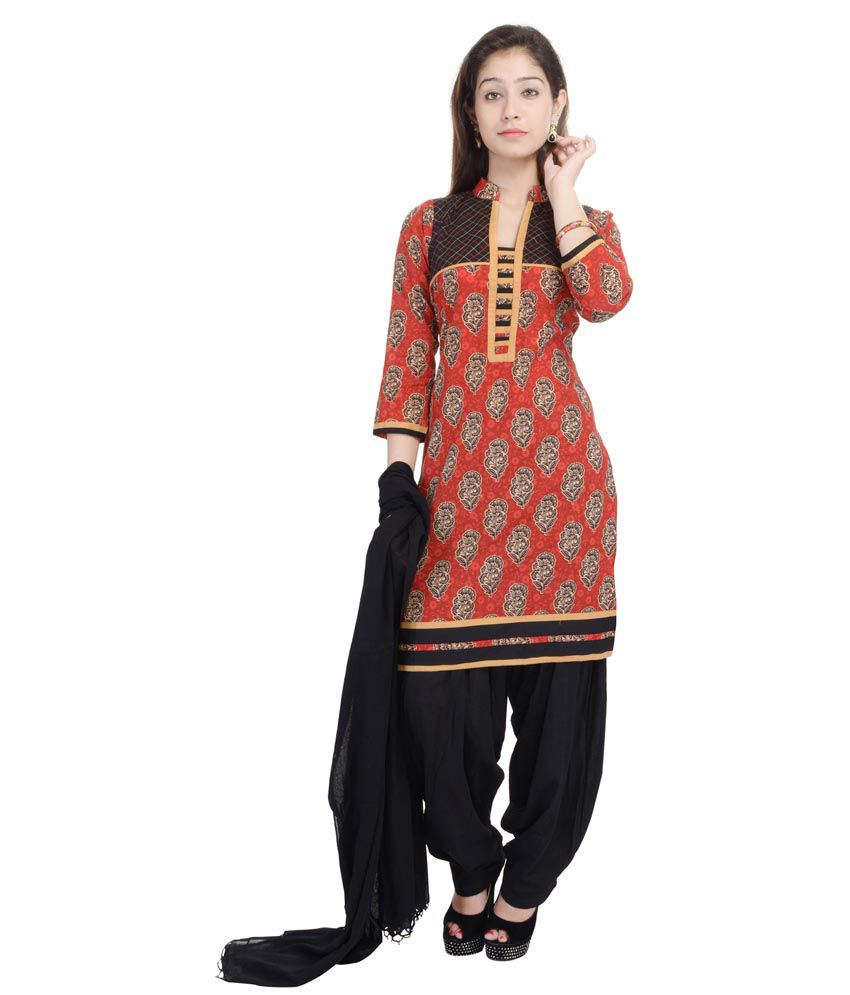 Nisba Fashion Red Cotton Straight Fit Stitched Salwar Suit
