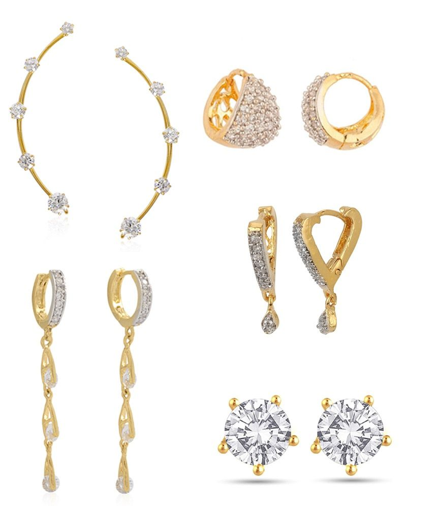 Penny Jewels Golden Alloy Earrings Pack Of 5
