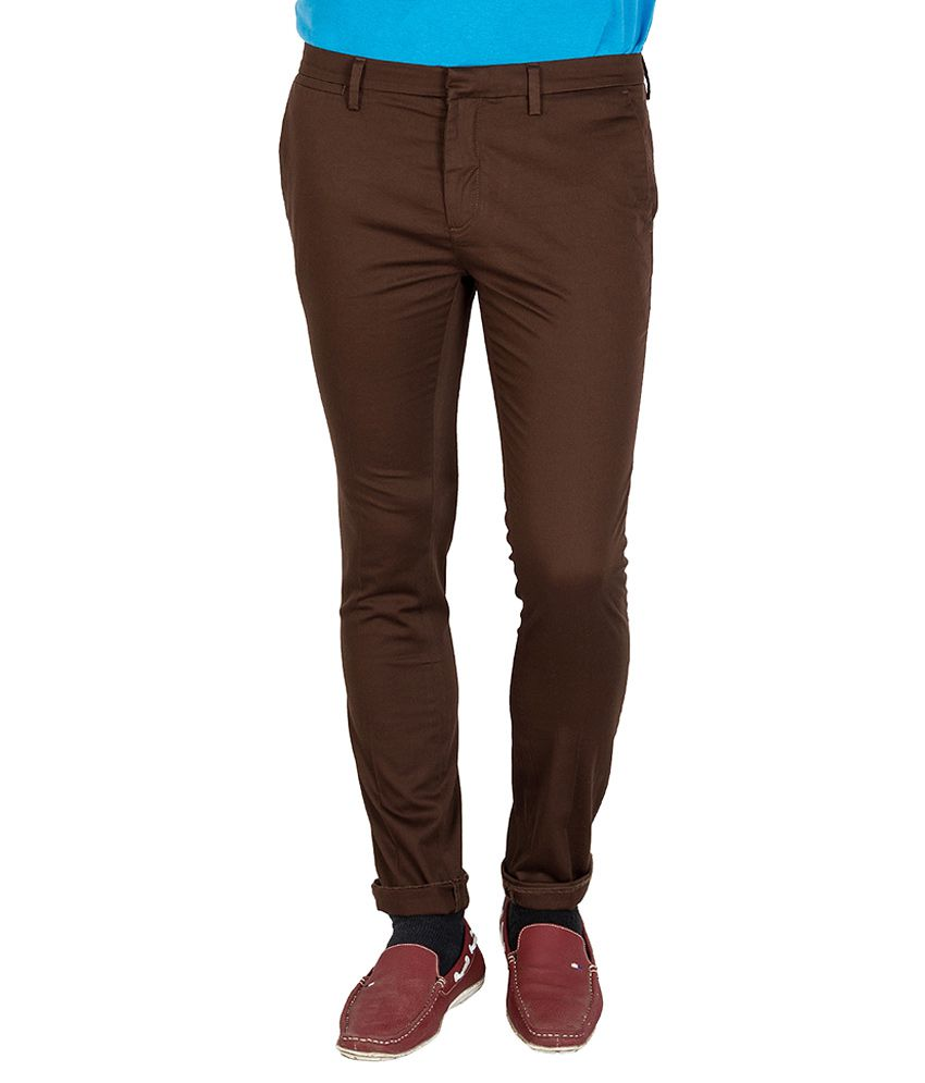 Mufti Brown Slim Chinos Trouser