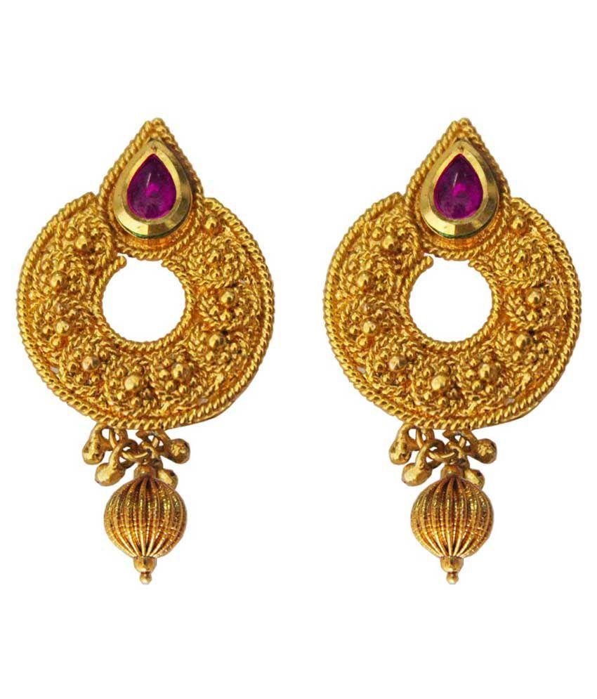 Pihu Golden Alloy Push Back Hanging Earrings
