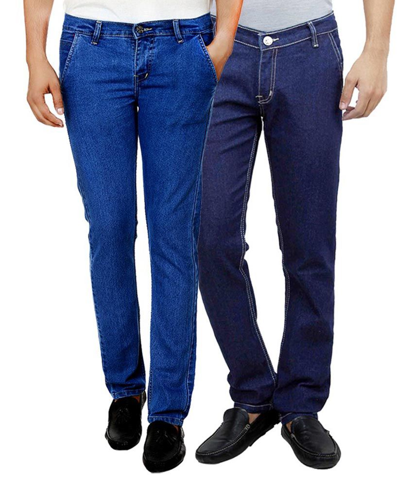 Ansh Fashion Wear Blue Regular Fit Basics Jeans Pack of 2