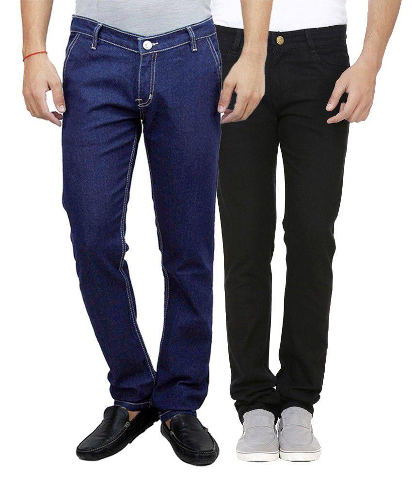 Ansh Fashion Wear Multi Regular Fit Basics Jeans Pack of 2