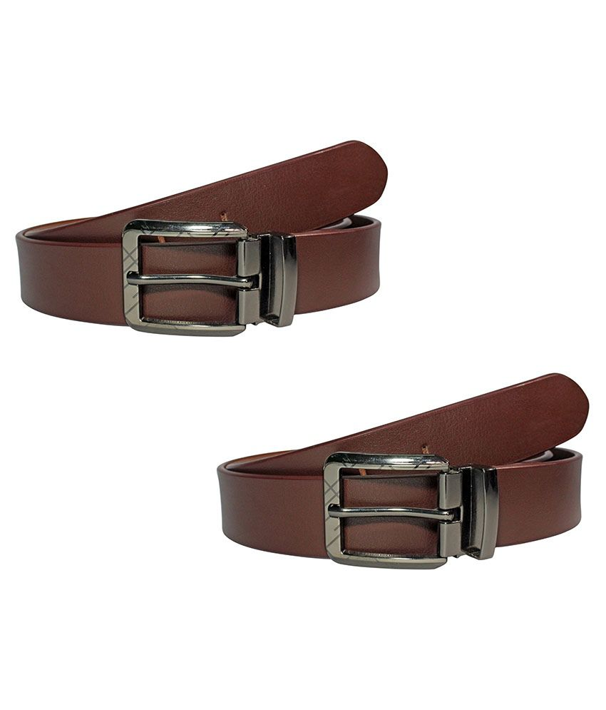 Dywin Brown Leather Belts For Men Set Of 2