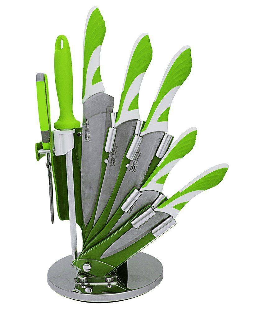 Home creations green silver stainless steel knife set for Home creations