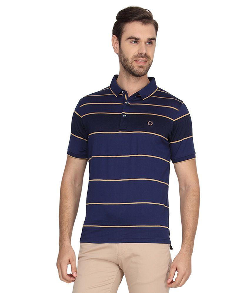 Proline Blue Half Sleeves Stripers Polo T-Shirt