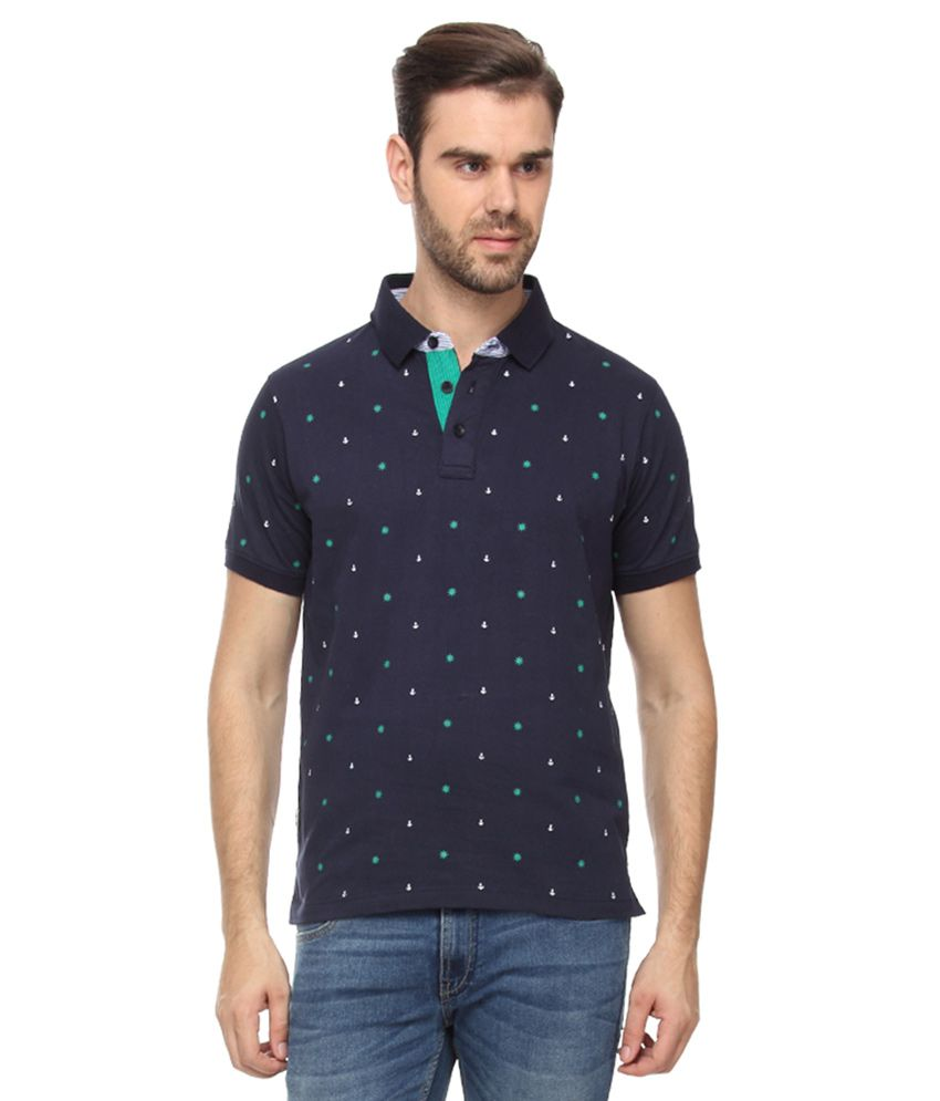 Proline Navy Half Sleeves Printed Polo T-Shirt