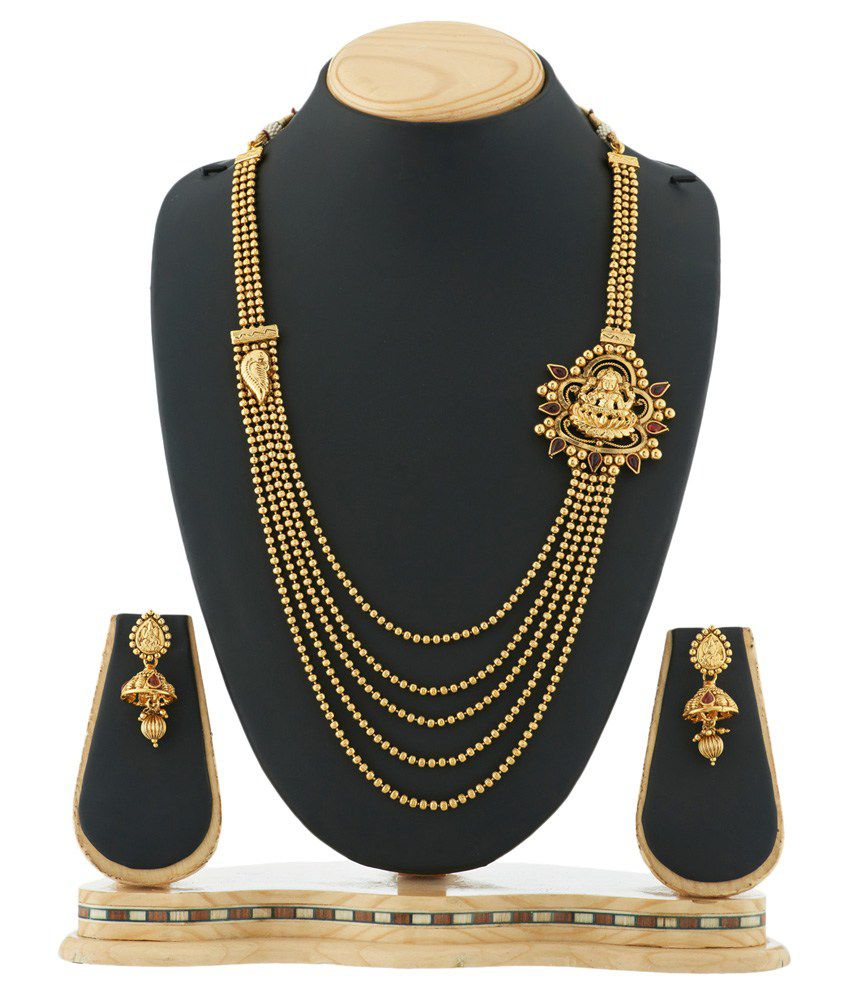 Satyam Jewellery Nx Golden Pearls Necklace Set