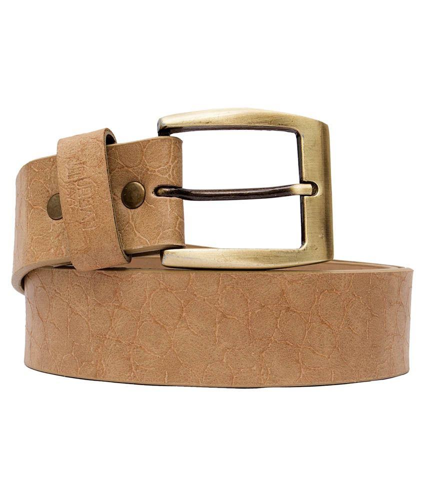 Urban Navy Beige Leather Belt For Men