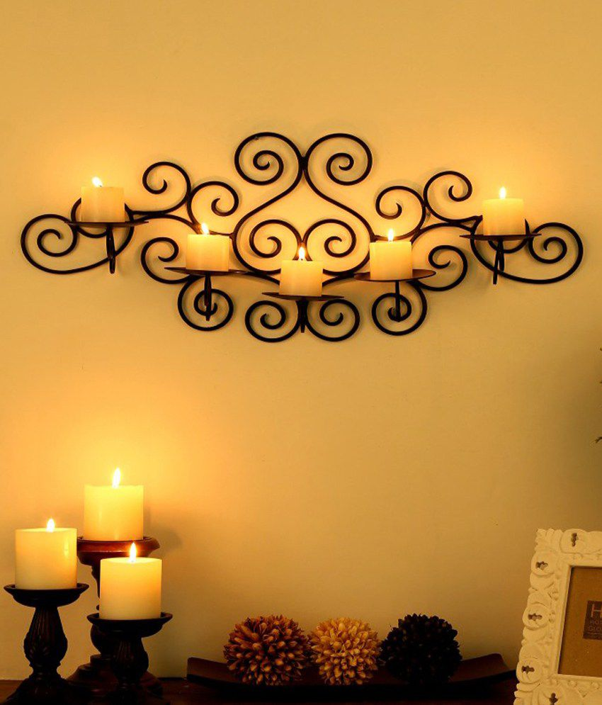 Being Nawab Black Elegant Decorative Wall Sconce With Free Candles ...