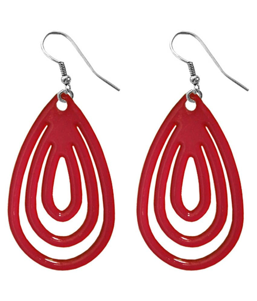 Pihu Red Alloy Fish Hook Hanging Earrings