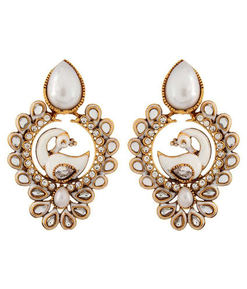 Shinningdiva White Alloy Hanging Earrings