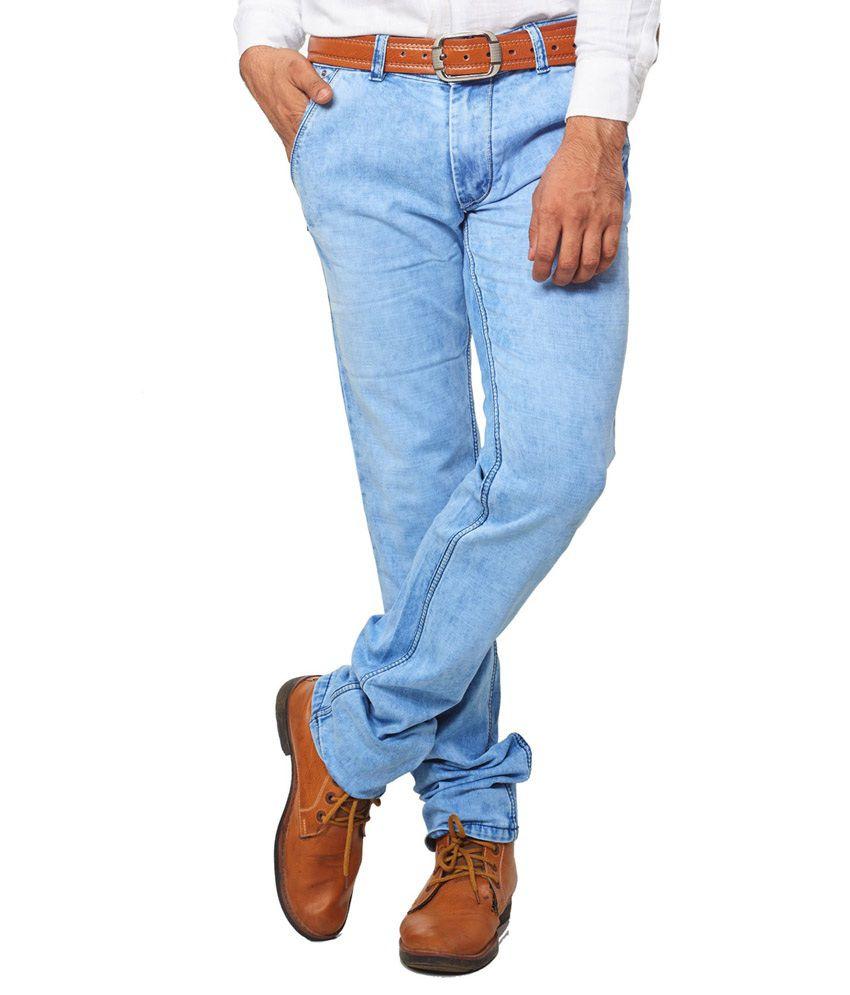 Aflash Blue Regular Fit Faded Jeans