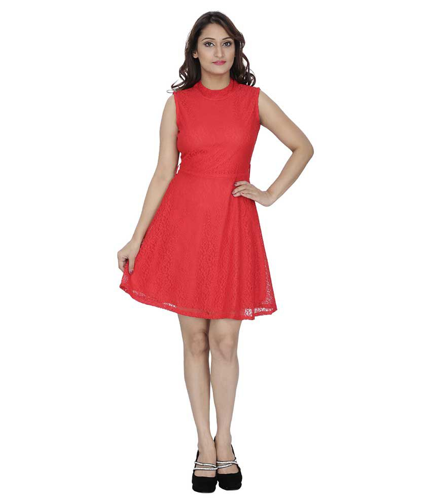 Franclo Red Net A Line Dress - Buy Franclo Red Net A Line