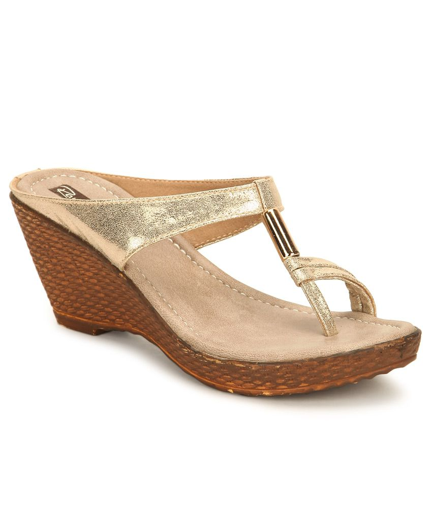 3550ce3352 Raw Hide Gold Wedges Heels Price in India- Buy Raw Hide Gold Wedges Heels  Online at Snapdeal