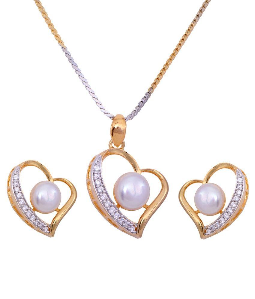 Hyderabad Jewels Alloy Golden & Silver Pendant Set