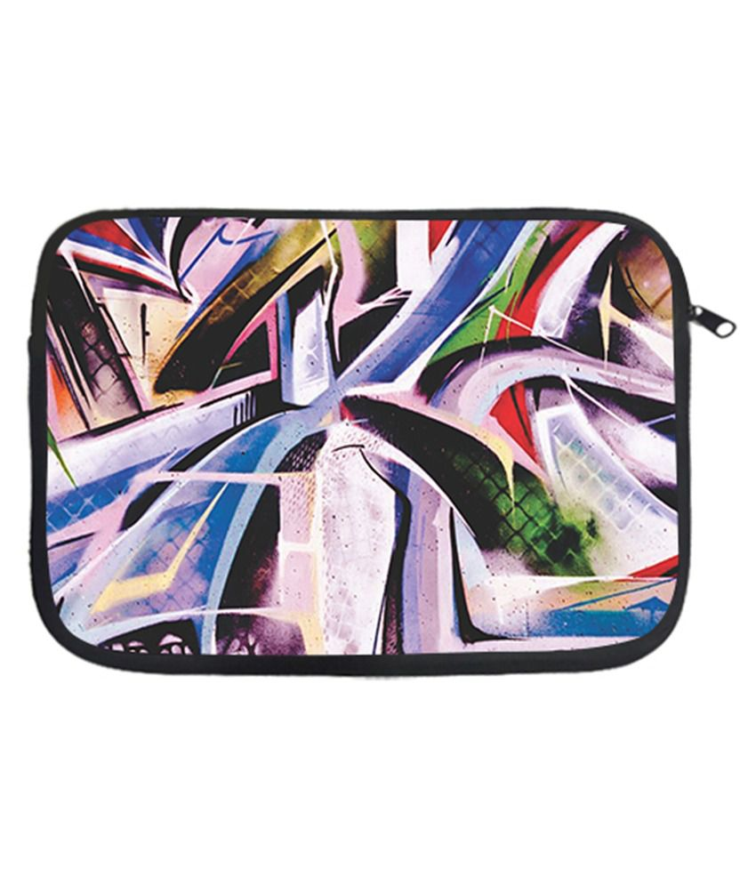 Via Flowers Polyester Laptop Sleeve Abstract 13 Inch - Multicolor