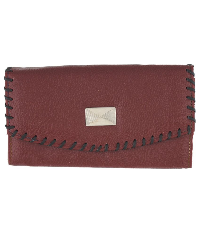 WCL Maroon P.U Regular Wallet for Women